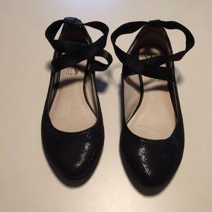 Seychelles Anthro Black Flats Sparkle Ankle Strap